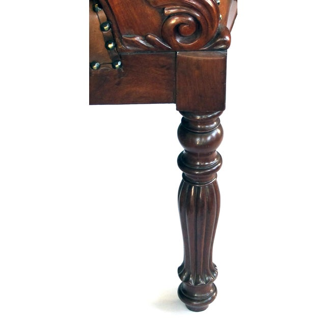 Wood French Restoration Carved Mahogany Barrel-Back Desk Chair With Acanthus Leaves For Sale - Image 7 of 9