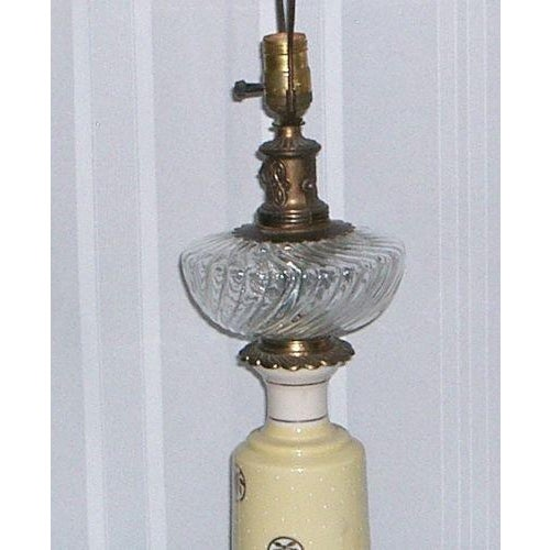 1940's Yellow Porcelain & Glass Table Lamp - Image 3 of 6