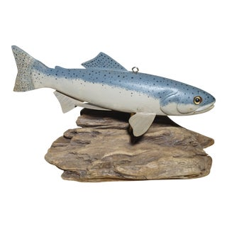 Large Hand Carved Steelhead Trout Decoy on Driftwood For Sale