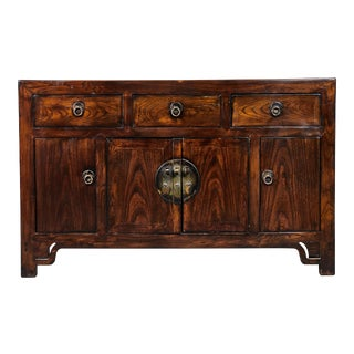 19th C. Chinese Three Drawer Elm Sideboard For Sale