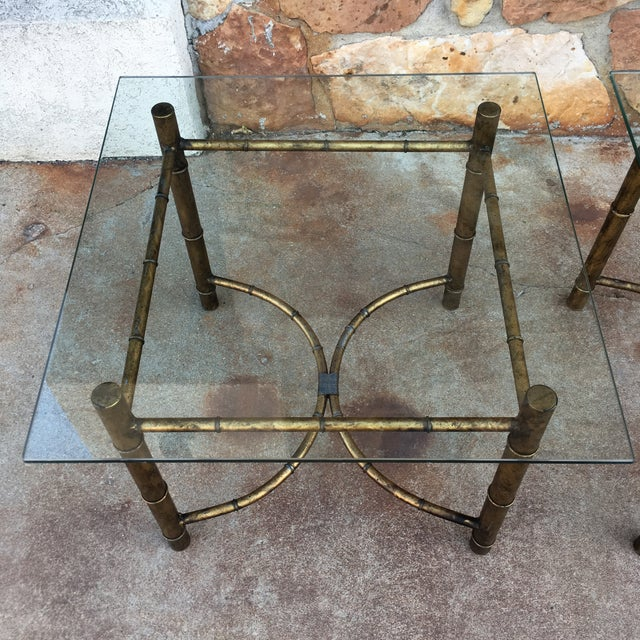 Black Vintage Faux Bamboo Gold Metal & Glass Side Tables - a Pair For Sale - Image 8 of 12