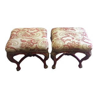 Vintage Giltwood & Red Painted Benches- a Pair For Sale