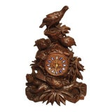 Image of 19th Century Antique Carved Black Forest Mantel Clock, Circa 1885 For Sale