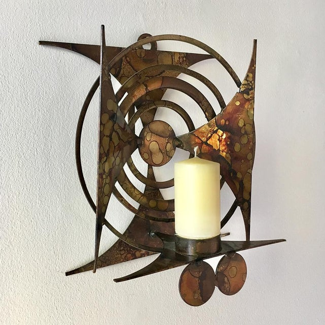 Single Danish Brutalist Welded Metal Candle Wall Sconce by Henrik Horst with Deep Oil Spot Patina 1960s NB: These items...