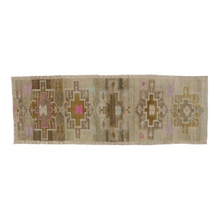 "1950's Vintage Turkish Painted Oushak Kars Runner - 5'6"" X 15'6"" For Sale"