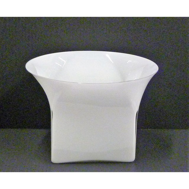 Large Sergio Asti ( b. 1926) Modern White Cased Glass Vessel Center Piece for Venini, Murano, Italy. This vessel from the...