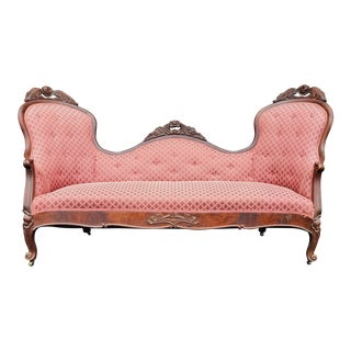 Antique Victorian Carved Wood Red Settee For Sale