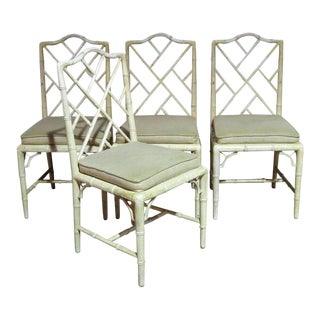 Faux Bamboo Distressed Painted Side Chairs - Set of 4