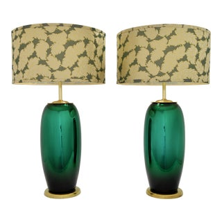 Large Vintage Italian Brass and Green Mercury Glass Lamps-A Pair-Signed Italy-Mid Century Modern MCM Hollywood Regency Palm Beach Boho Chic Murano