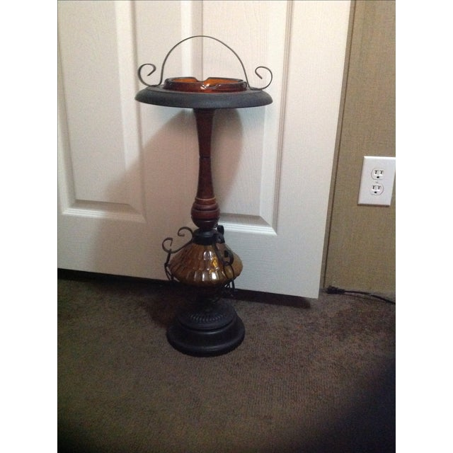Amber Glass & Cast Iron Smoking Stand - Image 2 of 4