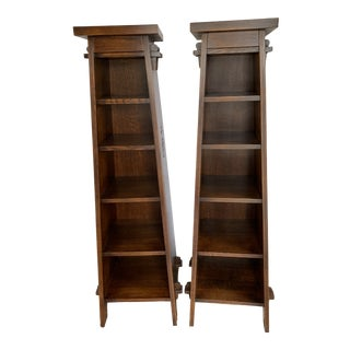 Arts and Crafts Stickley Manufactured Roycroft Magazine Stands - A Pair For Sale