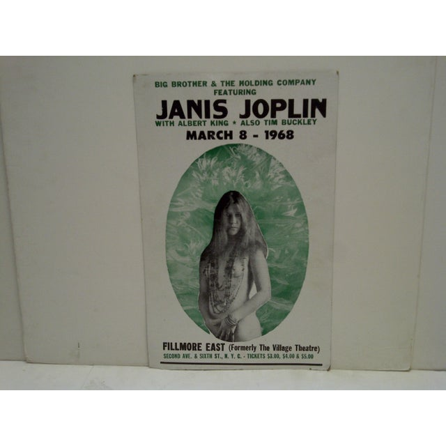 American March 8, 1968 Janis Joplin Filmore East Theatre Concert Poster For Sale - Image 3 of 6