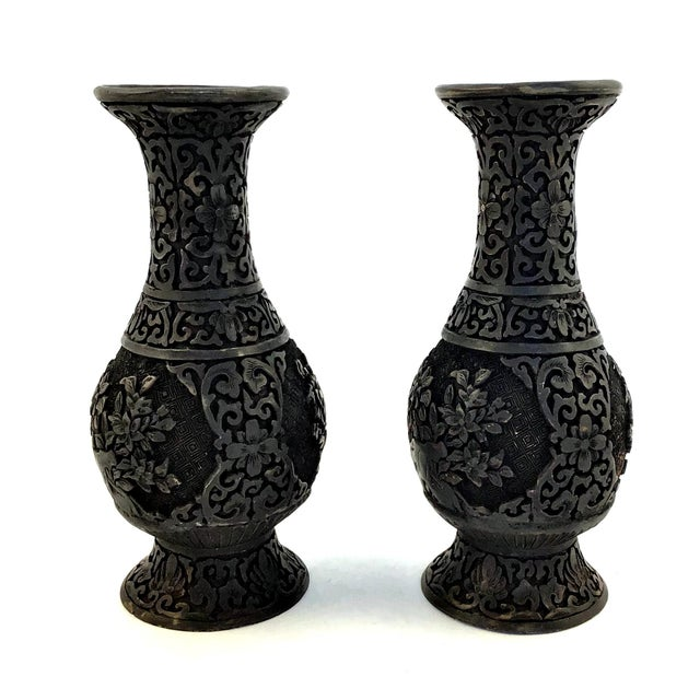 1940s Vintage Chinese Hand Carved Resin Vases- a Pair For Sale In Boston - Image 6 of 10
