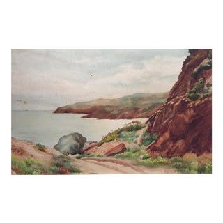 19th Century Traditional Watercolor on Board by Edith A. Bark
