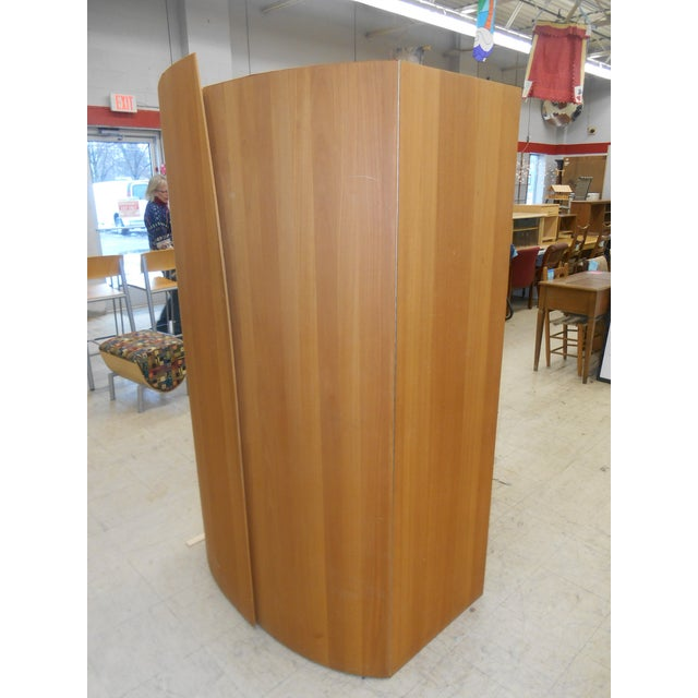 I have a Stunning Danish Modern Teak Bar / Entertainment Cabinet. This Hi-End Designer Shield looking cabinet has two...