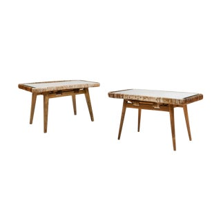 1950s Rattan Side Tables Attributed to Isamu Kenmochi - a Set of 2 For Sale