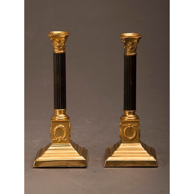 19th Century Empire Style Bronze Doré And Patinated Bronze Candlesticks - A Pair For Sale - Image 4 of 8
