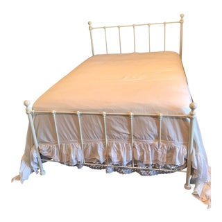 White Rod Iron Full Size Bed With Headboard and Footboard For Sale