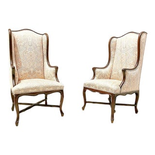 Vintage French Country Carved Walnut Wingback Chairs - a Pair