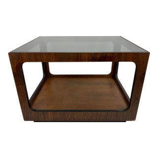 1960s Mid-Century Modern Lane Walnut and Smoked Glass Side Table For Sale