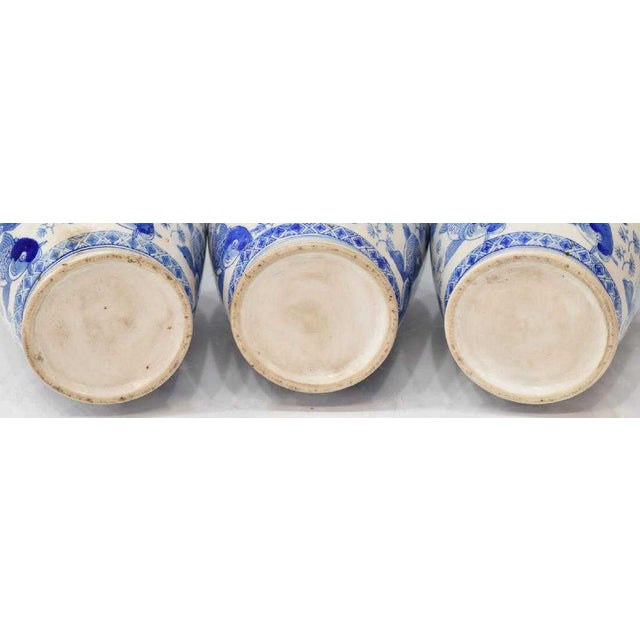 Asian Chinese Blue & White Porcelain Fish Vases - Set of 3 For Sale - Image 3 of 4