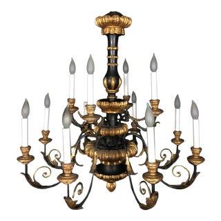 Regency Style Italian Twelve Arm Black and Gold Chandelier For Sale