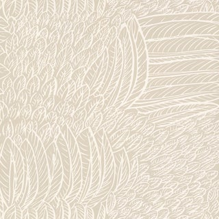 Sample - Schumacher Featherfest Wallpaper in Natural For Sale
