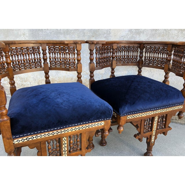 Blue 1950s Vintage Moroccan Mother of Pearl Velvet Corner Chairs - A Pair For Sale - Image 8 of 12