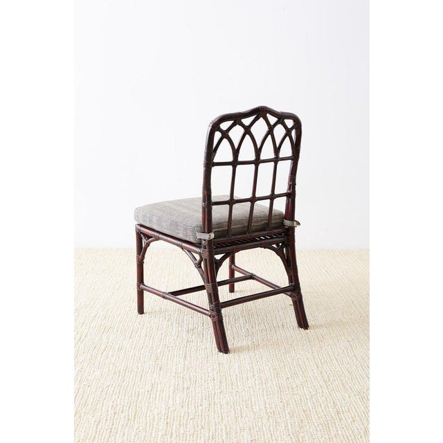Late 20th Century Set of Four McGuire Lacquered Bamboo Dining Chairs For Sale - Image 5 of 13
