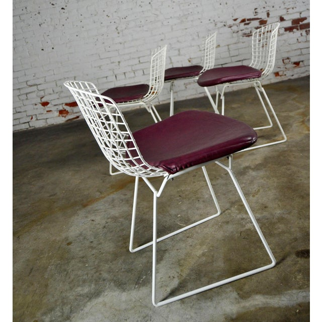 Mid-Century Modern Vintage Mid-Century Modern Bertoia White Wire Side Chairs For Sale - Image 3 of 11