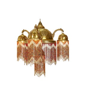 Moroccan Style Brass & European Beaded Chandelier