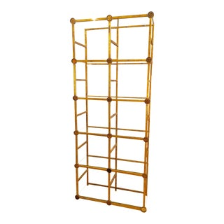 Vintage Gilt Italian Etagere With Amber Glass Discs