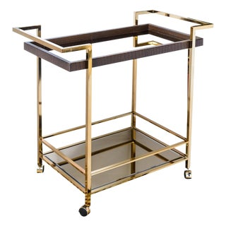Mid Century Bar Cart, Leather Wrapped Tray With Smoked Mirror For Sale