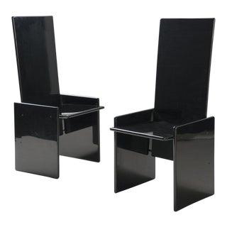 Pair of Black Lacquer Kazuki Chairs by Kazuhide Takahama for Gavina