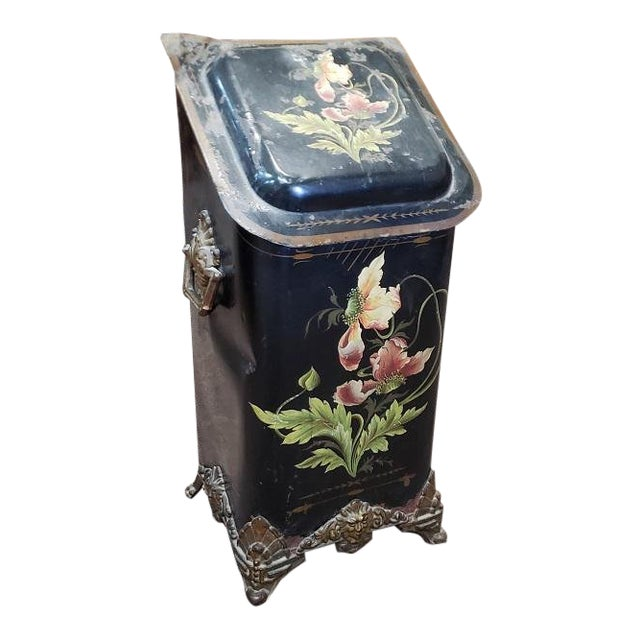 American Victorian Hand Painted Firewood Bin W/ Insert C.1890s For Sale