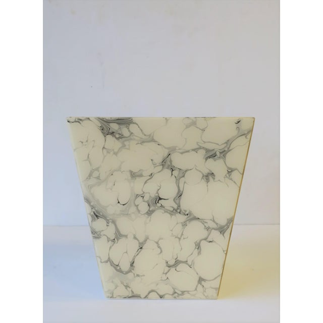 Black and White Marble Style Wastebasket or Trash Can Set For Sale - Image 9 of 13