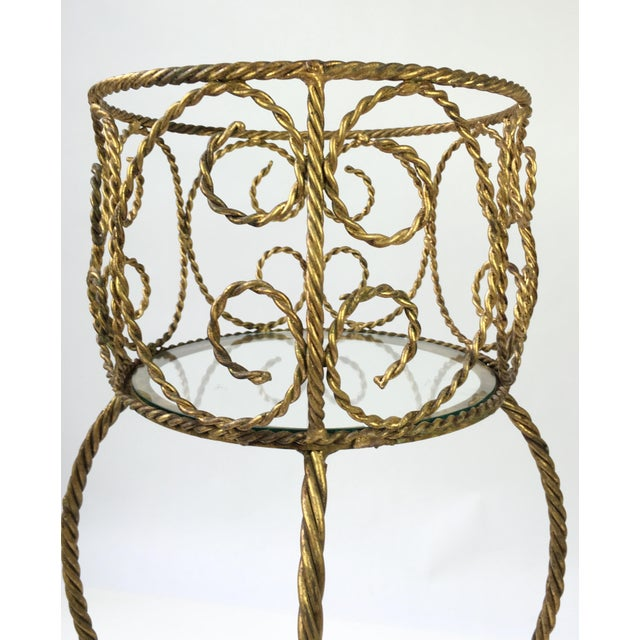 Hollywood Regency Gilt Metal Rope 2 Tier Plant Stand For Sale - Image 4 of 7