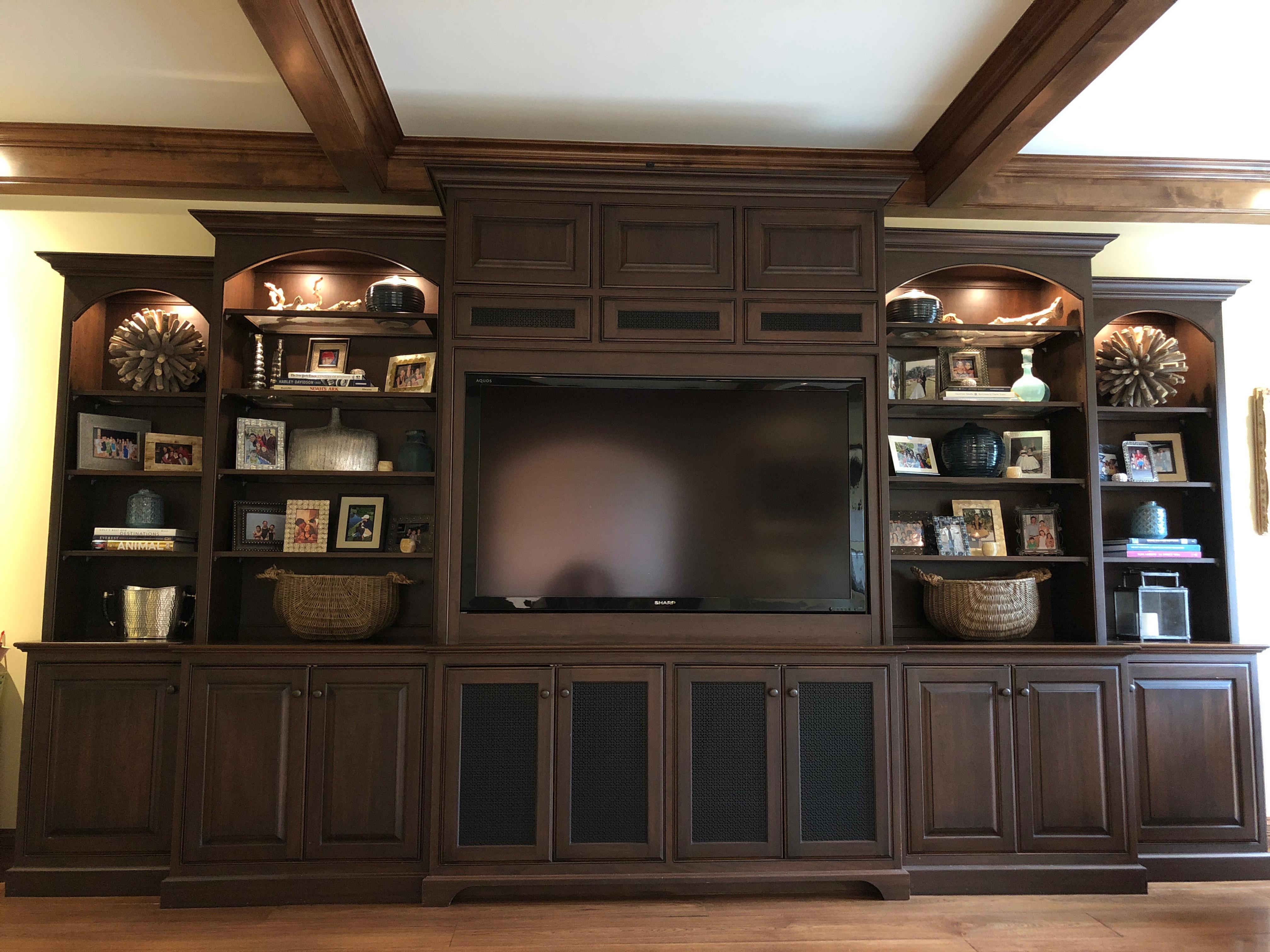 Beautiful Stained Alder Wood Built In That Was Custom Made In Wisconsin By  Cabaret. Traditional Adler Wood Custom Media Cabinet ...