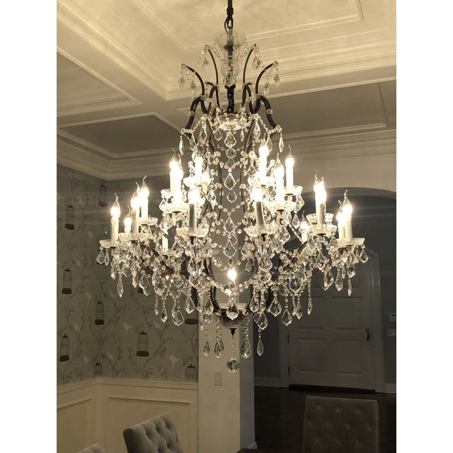 Restoration Hardware 19th Century Rococo Iron & Clear Crystal Round Chandelier For Sale - Image 4 of 5