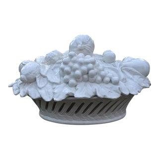 Italian Vintage Blanc De Chine Porcelain Reticulated Fruit Basket