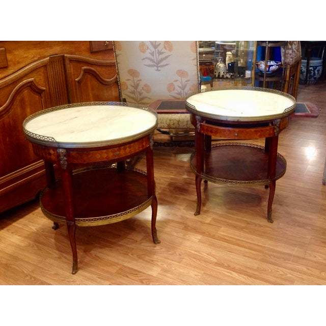 Traditional Pair of Fine French Bouillotte Tables For Sale - Image 3 of 13