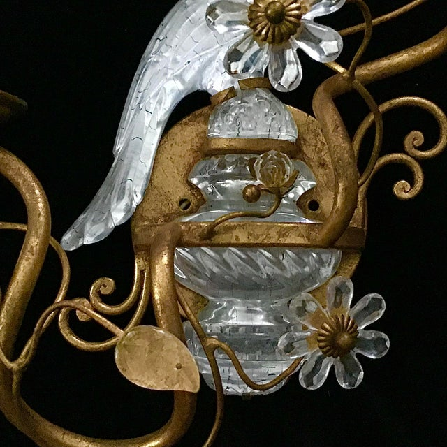 Pair of Bagues Style Glass Bird Form Sconces For Sale In Tampa - Image 6 of 10