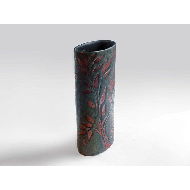 Contemporary Vintage Andersen Design Vase in Red Leaf on Ebony Glaze Pattern For Sale - Image 3 of 7