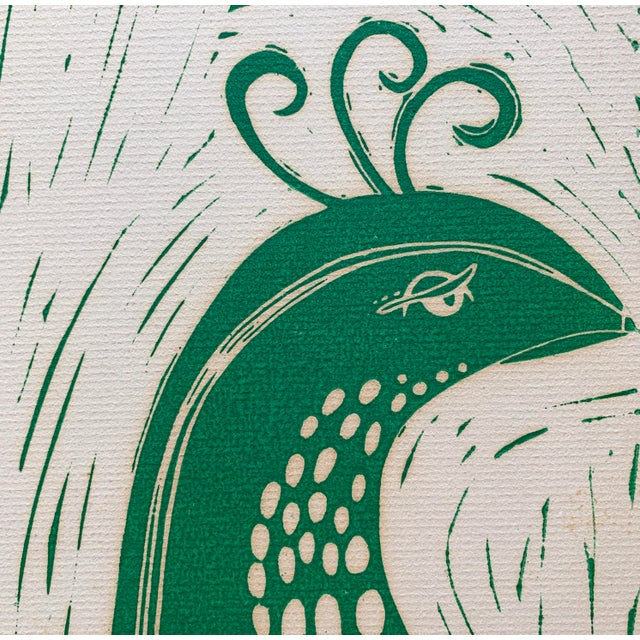 Vintage Stylized Bird Lithograph For Sale - Image 4 of 7