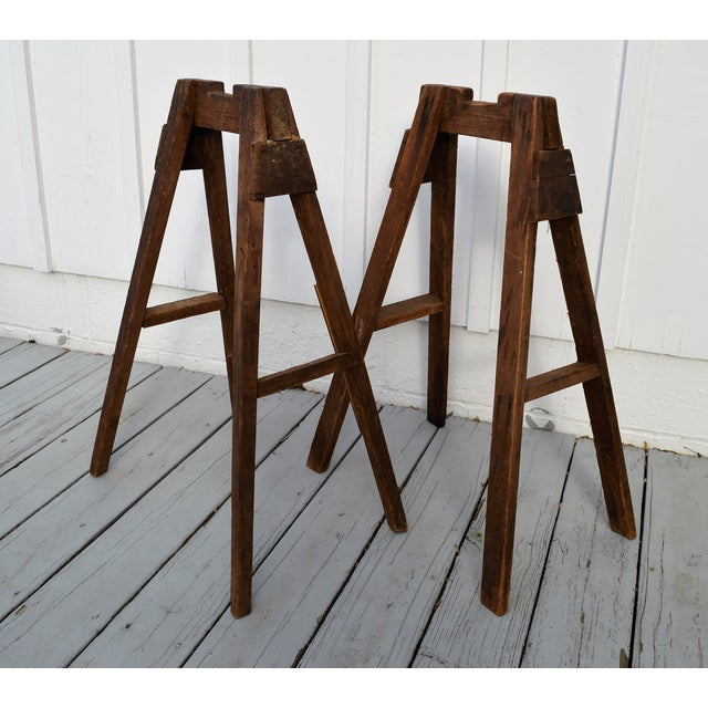Vintage saw horses from oak from an old barn in the Catskill Mountains from the early 20th Century. Charming size and...