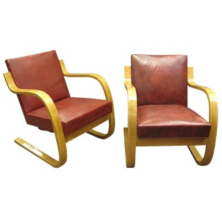 Early Original Cantilever Chairs Stamped Alvar Aalto - a Pair For Sale
