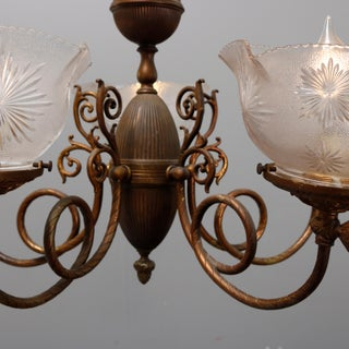 Antique Victorian Scroll Arm Brass & Glass Electrified Gas Chandelier Circa 1880 Preview