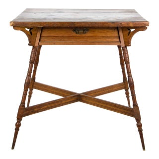 Arts and Crafts Oak One Drawer Side Table For Sale