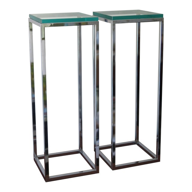 Silver 1970s Modern Tall Chrome Pedestal Tables - a Pair For Sale - Image 8 of 8