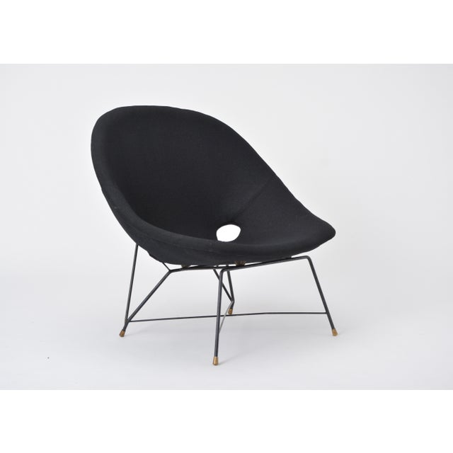 Black Italian Cosmos Lounge Chair by Augusto Bozzi for Saporiti For Sale - Image 9 of 11
